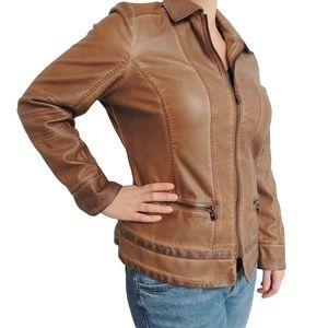 FDJ Light Brown Vegan  Leather Jacket L